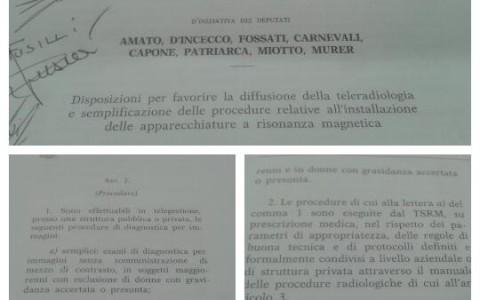 """Telerefertazione. Proposta di Legge dell'On. Maria Amato – Direttore U.O.C. Radiodiagnostica del P.O. """"San Pio"""" di Vasto (Ch)."""