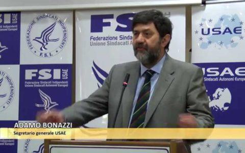 Il Segretario Generale del Sindacato FSI-USAE, Adamo BONAZZI, giorno 07.06.2018 a Foggia.