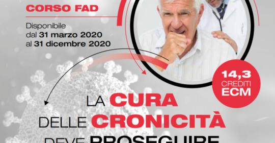 """Corso ECM FAD gratuito per tutte le Professioni Sanitarie: """"La cura delle cronicità deve proseguire nonostante la covid-19"""". Assegnati 14,3 (quattordici,tre) crediti ECM."""