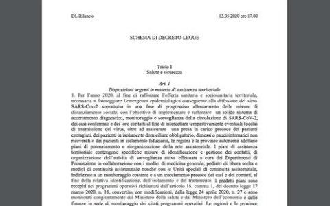"""Decreto """"Rilancio"""", verso la pubblicazione in Gazzetta Ufficiale."""