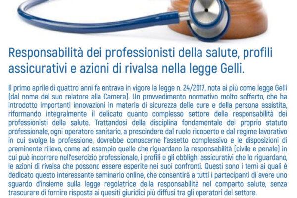 """Ordine TSRM – PSTRP della Provincia di Foggia. Zoom webinar: """"Responsabilità dei professionisti della salute, profili assicurativi e azioni di rivalsa nella legge Gelli""""."""