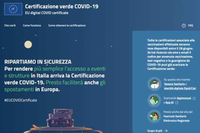 Certificazione verde COVID-19. EU digital COVID certificate.
